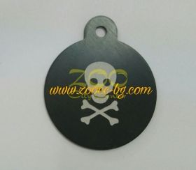 iMARC Pirate Skull Circle Shaped Tags голям черен