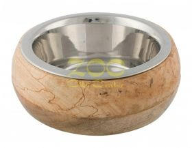 Trixie Stainless Steel Bowl with Wooden Holder - луксозна метална купичка с дървена поставка 450 мл. / 16 см.