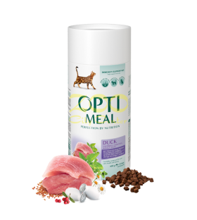 Opti Meal Adult Cat Hairball Controll with Duck and Veggies - За котки над 12 месеца, контрол на космените топки, патешко и зеленчуци