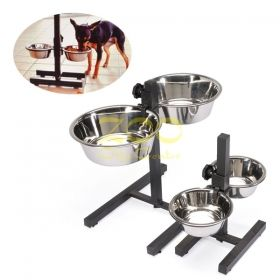 Camon Bowl stand with two steel bowls 1900ml - регулируема стойка с две метални купи